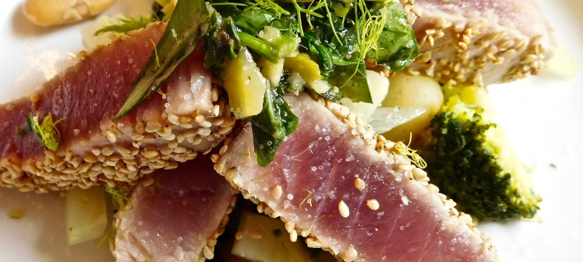 Sesame Tuna and salsa verde with a warm new potato and vegetable salad