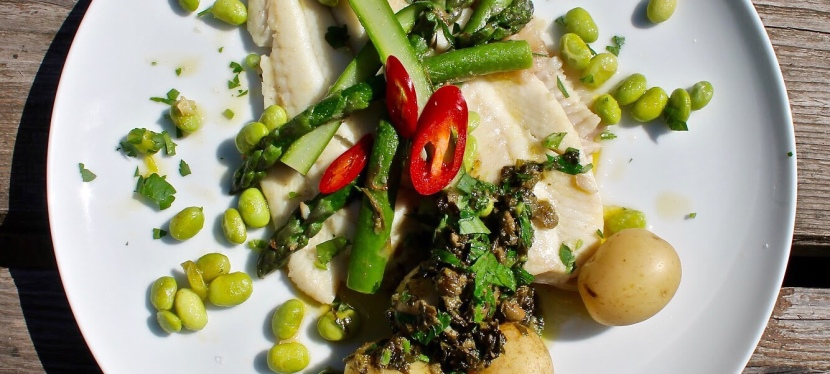 Plaice with asparagus, edamame beans and caper butter