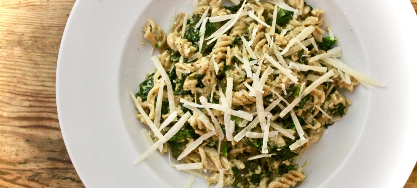 Slow cooked courgette and anchovy 'pesto'  with wholewheat pasta